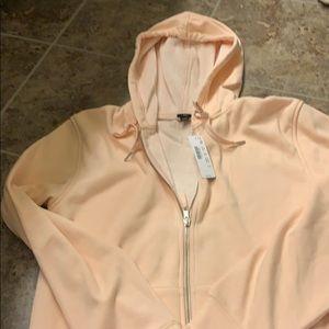 J crew pale pink fleece lined hoodie